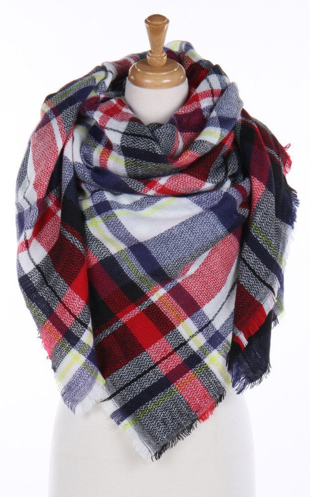 Red Plaid Blanket Scarf - Ciao Bella Boutique