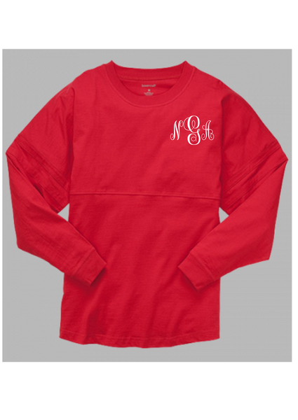 Pom Pom Jersey Adult - Red  *Monogram Front & Back* - Ciao Bella Boutique