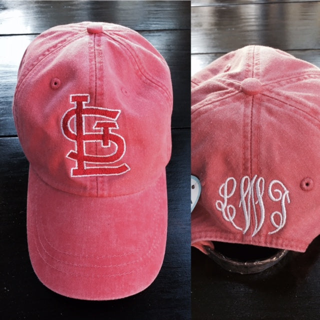 STL Cardinals Hat - Red Faded with Monogram - Ciao Bella Boutique