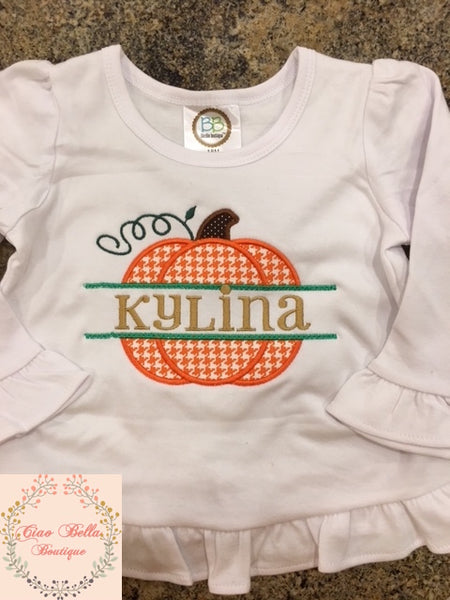 Houndstooth Split Pumpkin Shirt with Name - Ciao Bella Boutique