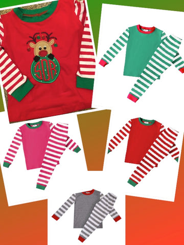 Kids Raglan Style Striped Christmas Pajamas - PRE-ORDER ONLY - Ciao Bella Boutique