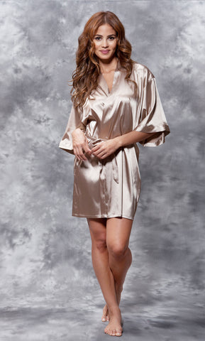 Solid Satin Robes - Taupe - Ciao Bella Boutique