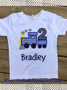 Train Birthday Shirt - Blue - Ciao Bella Boutique