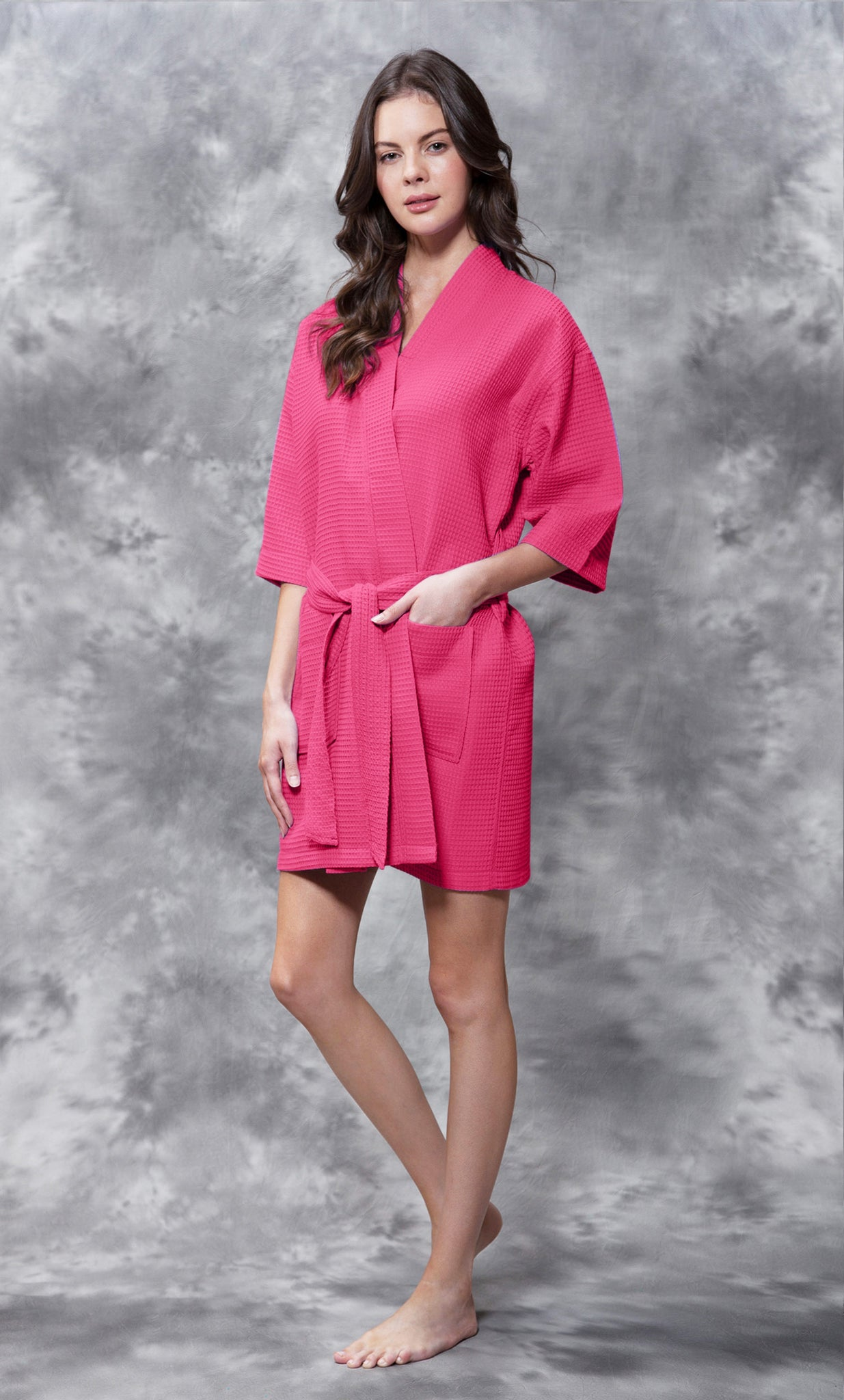 Knee Length Waffle Weave Robes - Fuscia - Ciao Bella Boutique