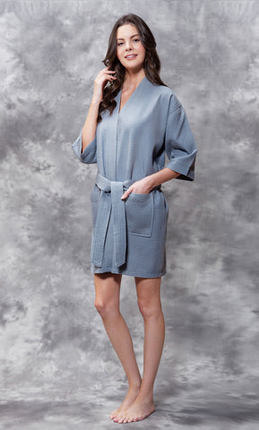 Knee Length Waffle Weave Robes - Grey - Ciao Bella Boutique