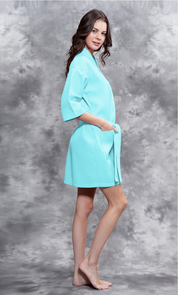Knee Length Waffle Weave Robes - Island Paradise - Ciao Bella Boutique