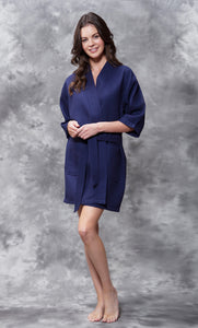 Knee Length Waffle Weave Robes - Navy - Ciao Bella Boutique
