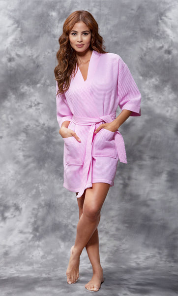 Knee Length Waffle Weave Robes - Pink - Ciao Bella Boutique