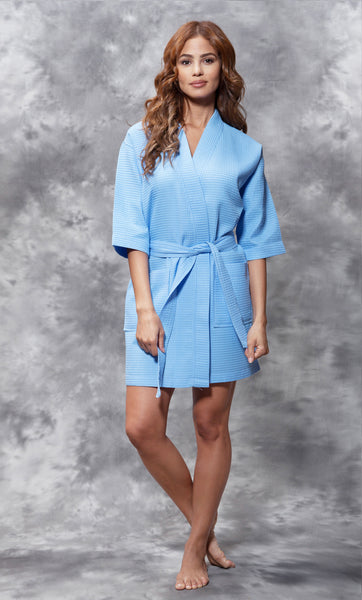 Knee Length Waffle Weave Robes - Serenity blue - Ciao Bella Boutique