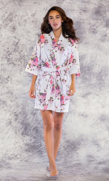 Knee Length Waffle Weave Robes - White Floral - Ciao Bella Boutique