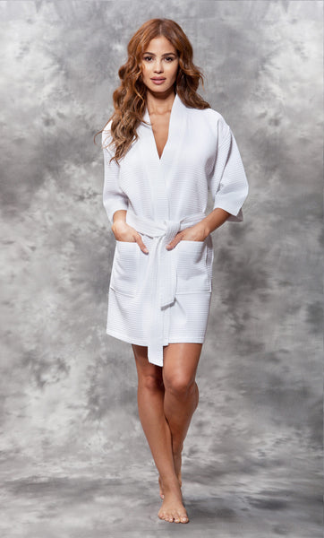 Knee Length Waffle Weave Robes - White - Ciao Bella Boutique