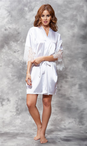 White Solid Satin Robe with Lace - Ciao Bella Boutique