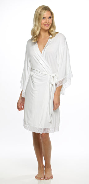 Jersey Solid Robes with Lace Trim - White - Ciao Bella Boutique