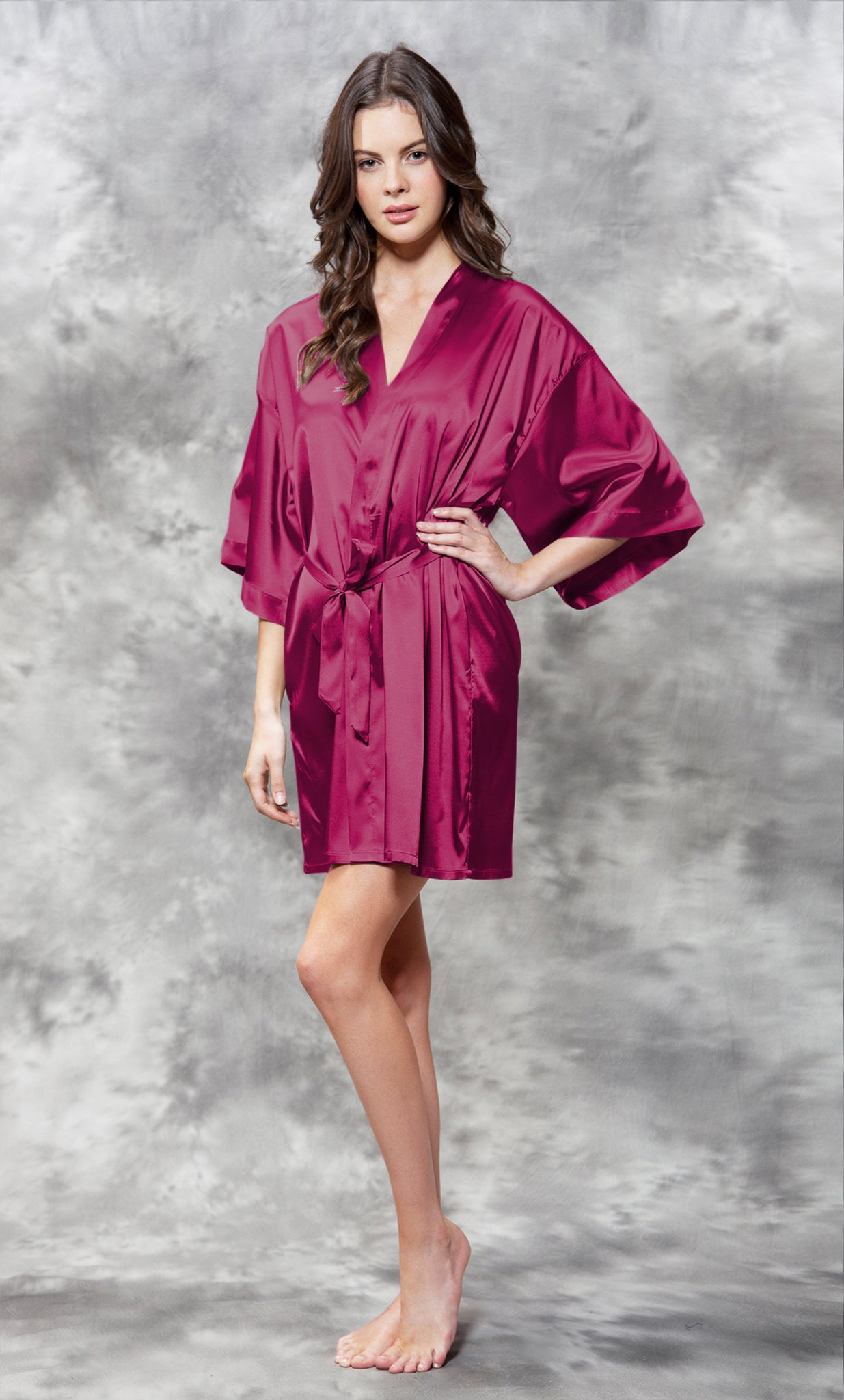 Solid Satin Robes - Red Wine - Ciao Bella Boutique