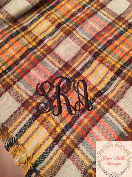 Yellow Plaid Blanket Scarf - Ciao Bella Boutique