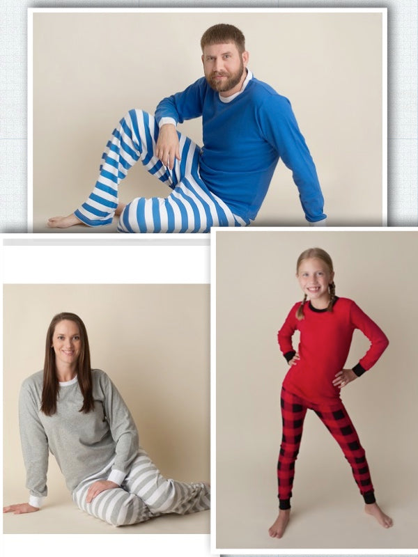 Adult Stripe Christmas Pajamas - Grey/White Stripe, Blue/White Stripe, Buffalo Plaid - Ciao Bella Boutique