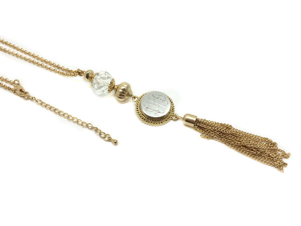 Monogram Crystal Snap Necklace - Gold, Antique Gold, Silver - Ciao Bella Boutique