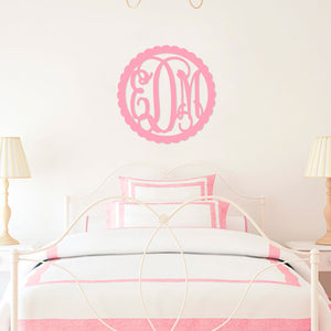 22 in Scallop Wood Monogram - Ciao Bella Boutique