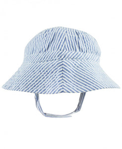 Blue Seersucker Sun Hat - Boy - Ciao Bella Boutique