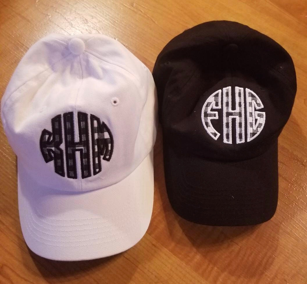 Applique Circle Monogram Caps - Black Gingham - Ciao Bella Boutique