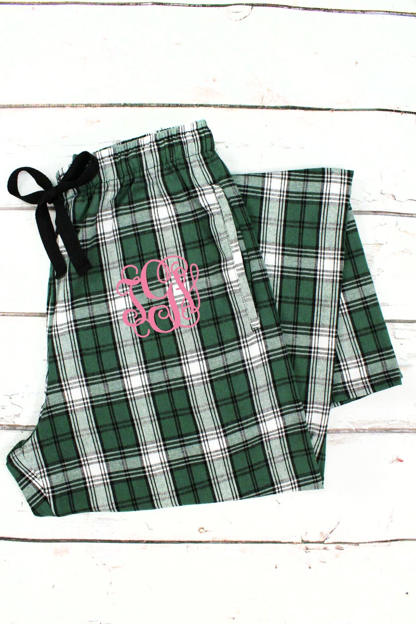 Green & White Plaid Flannel PJ Pants - Ciao Bella Boutique