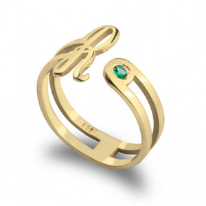 Birthstone Initial Ring - 24k Gold Plated - Ciao Bella Boutique