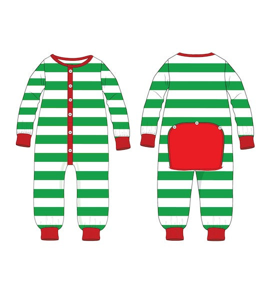Holly Jolly Jammies - Green Striped - Ciao Bella Boutique