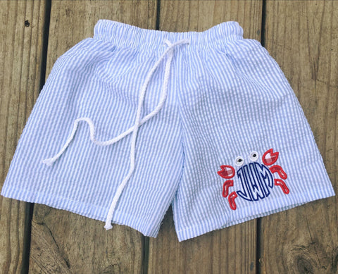 Crab Monogram Blue Seersucker Swim Trunks - Ciao Bella Boutique