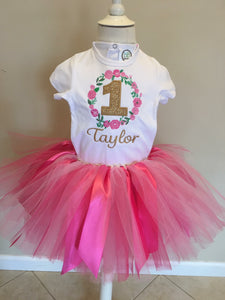 Rose Wreath Shirt & Tutu - Ciao Bella Boutique