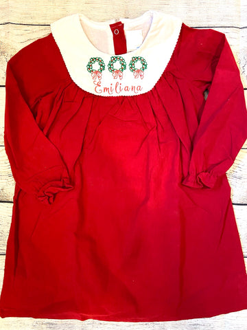 Christmas Wreaths Corduroy Dress