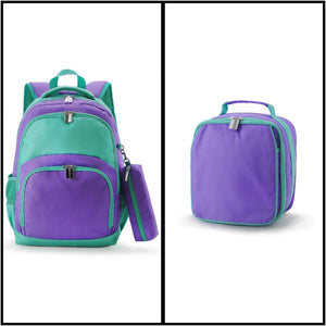 Comfort Backpacks with Pencil Case and Lunch Bag - Purple/Mint - Ciao Bella Boutique