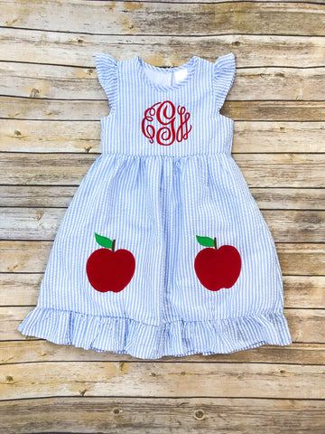 2 Apples on Blue Seersucker Dress - Ciao Bella Boutique