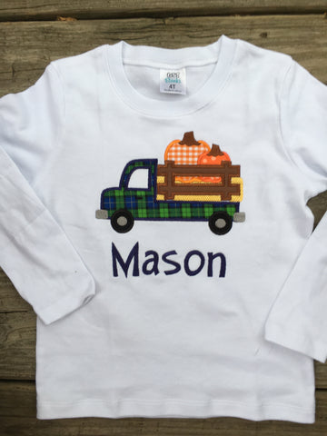 Boy Truck & Pumpkin Shirt with Name - Ciao Bella Boutique