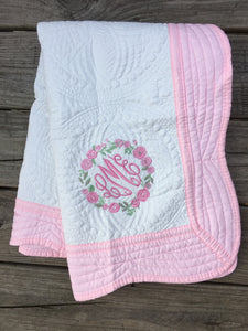 Baby Quilt - Pink Trim - Ciao Bella Boutique