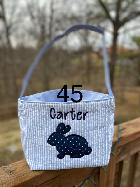 Easter Bucket - Blue Seersucker - Ciao Bella Boutique