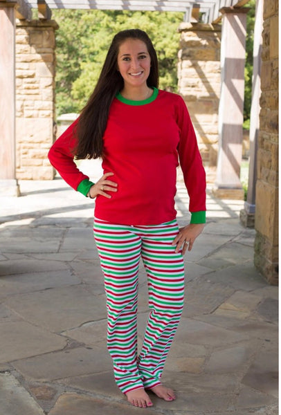 Adult Stripe Christmas Pajamas- Multi Striped - Ciao Bella Boutique