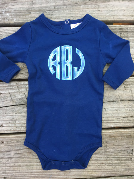 Blue Gingham Circle Monogram Bodysuit - Ciao Bella Boutique