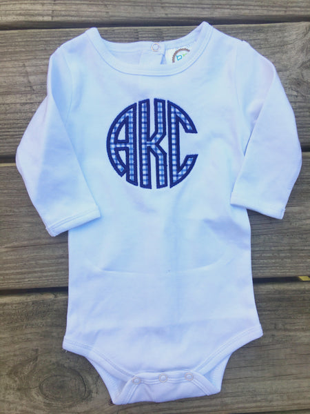 Navy Gingham Circle Monogram Bodysuit - Ciao Bella Boutique
