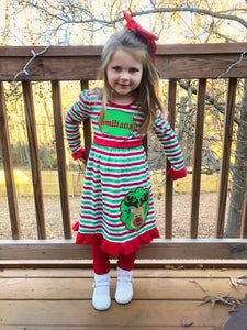Striped Christmas Reindeer Ruffled Dress - Ciao Bella Boutique