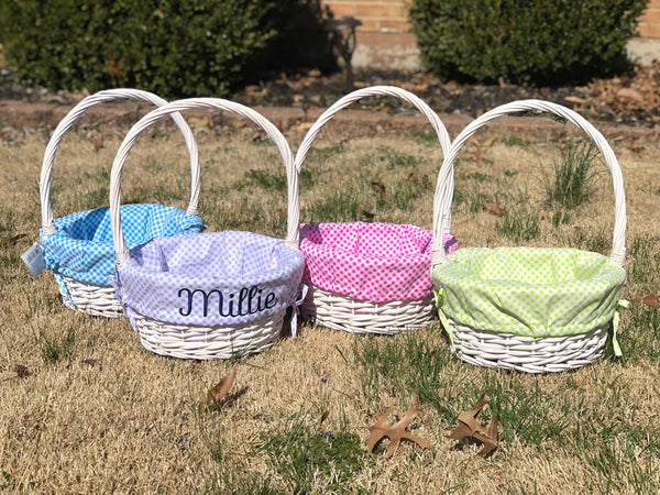 Willow Basket with Gingham Liners - Ciao Bella Boutique