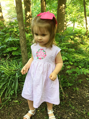 Pink Linen Dress with Floral Monogram - Ciao Bella Boutique