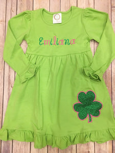 Glittered Shamrock Ruffled Dress - Ciao Bella Boutique