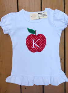 Apple Applique Shirt with Initial - Ciao Bella Boutique