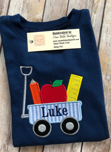 Wagon with Apple, Ruler and Pencil Shirt - Ciao Bella Boutique