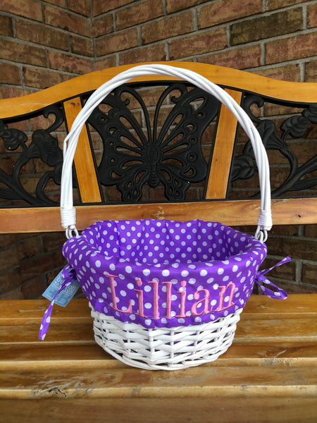 Willow Basket with Polka Dot Liners - Ciao Bella Boutique