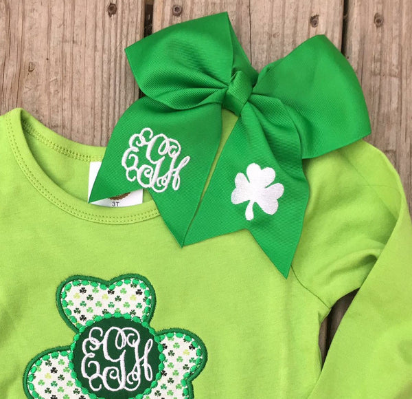 Monogram Green Bow with a Clover - Ciao Bella Boutique