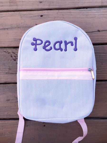 Small Backpack - Pink Seersucker - Ciao Bella Boutique