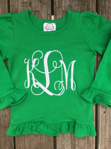 Green Monogram Ruffled Shirt - Ciao Bella Boutique