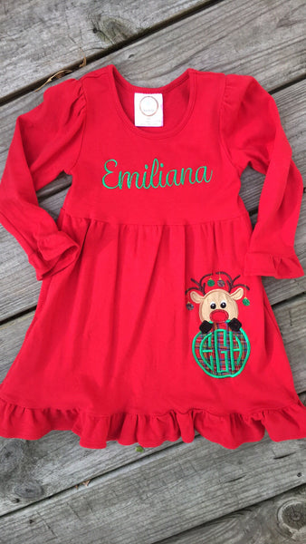 Red Christmas Ruffled Dress - Ciao Bella Boutique