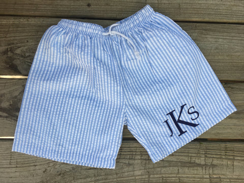 Seersucker Swim Trunks - Blue - Ciao Bella Boutique